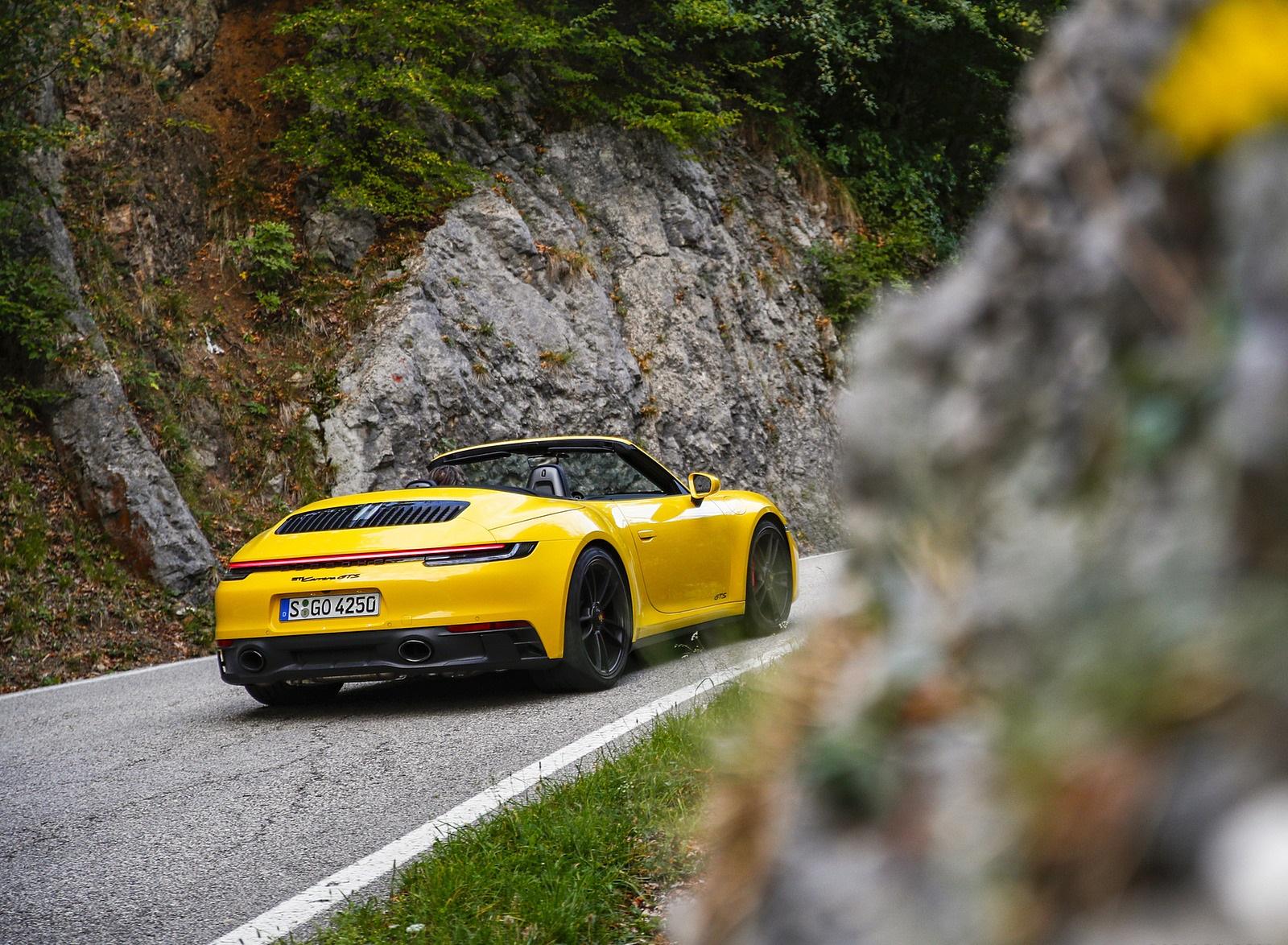 2022 Porsche 911 Carrera GTS Cabriolet (Color: Racing Yellow) Rear Three-Quarter Wallpapers (9)